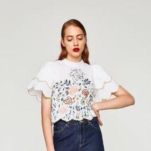 NWT Zara Size M White Embroidered Blouse